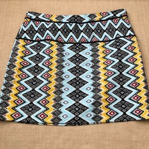 Loft Aztec Tribal ZigZag Striped Print Skirt
